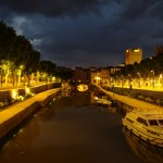 Canal de la Robine vakare po lietaus