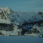 Julier Pass ir slidininkai ant ežero